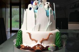 Torta de Frozen, Olaf, Ana y Elsa, en Envigado, Dulcepastel.com